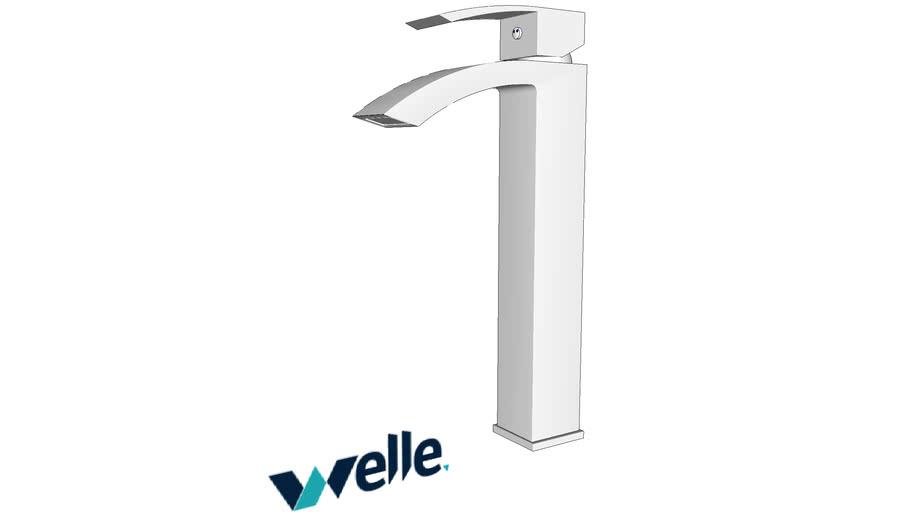 Torneira de banheiro bica alta cromada quadrada Welle