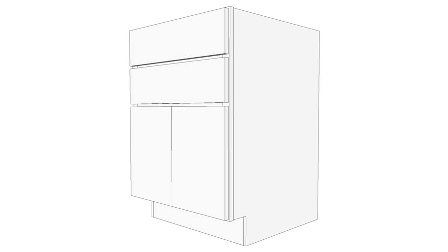 Glenwood Base Cabinet B2D24B - Two Drawers, Butt Doors