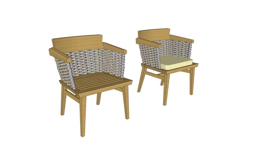 Cadeira Lótus com braço (cinza)