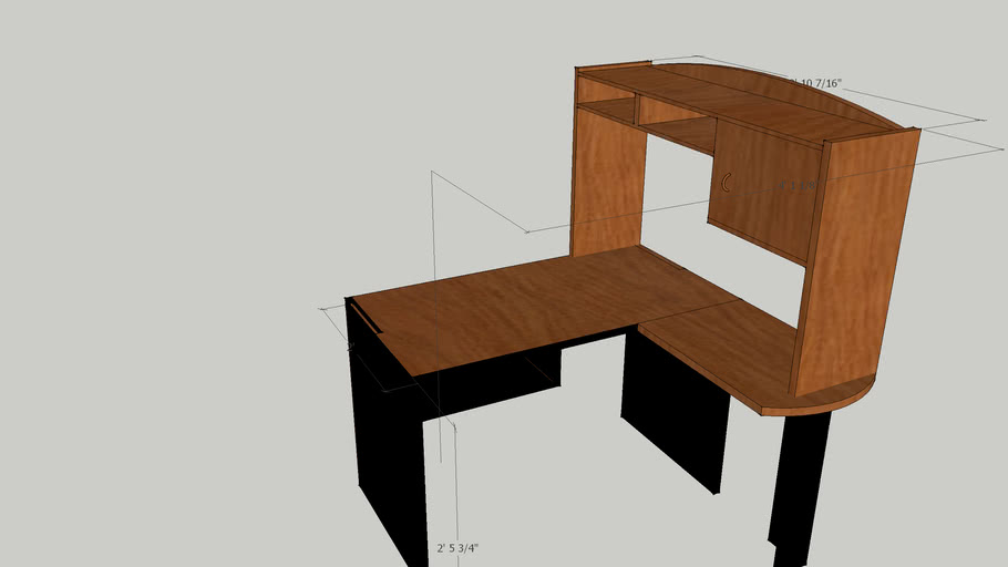 L_shape Desk w/rotated hutch