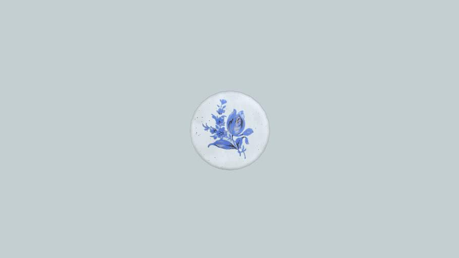 pomo de cerámica con motivo flor azul