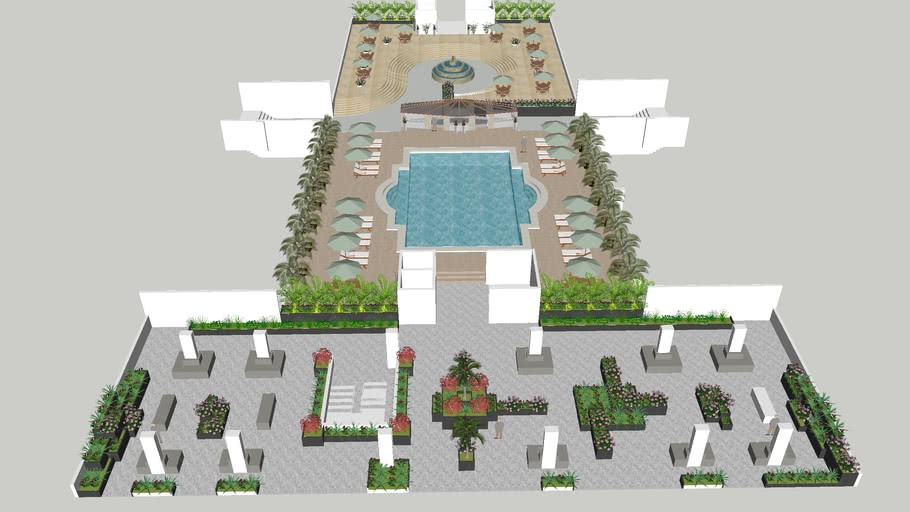 swimming pool with lounge and roof top green spaces