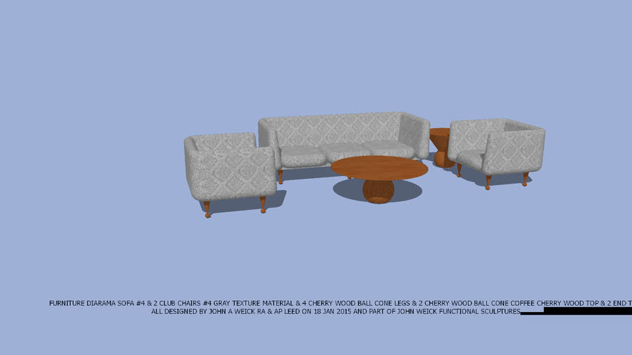 FURNITURE DIARAMA SOFA & CLUB CHAIRS #4 GREY TEXTURE FABRIC & 2 CHERRY WOOD BALL CONE  COFFEE & 2 END TABLES ALL DESIGNED BY JOHN A WEICK RA & AP LEED ON 18 JAN 2015.