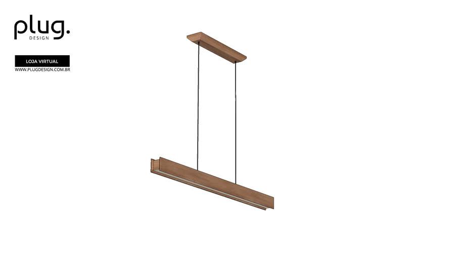 Pendente Linea Madeira Plug Design Tubular 120cm Vray On