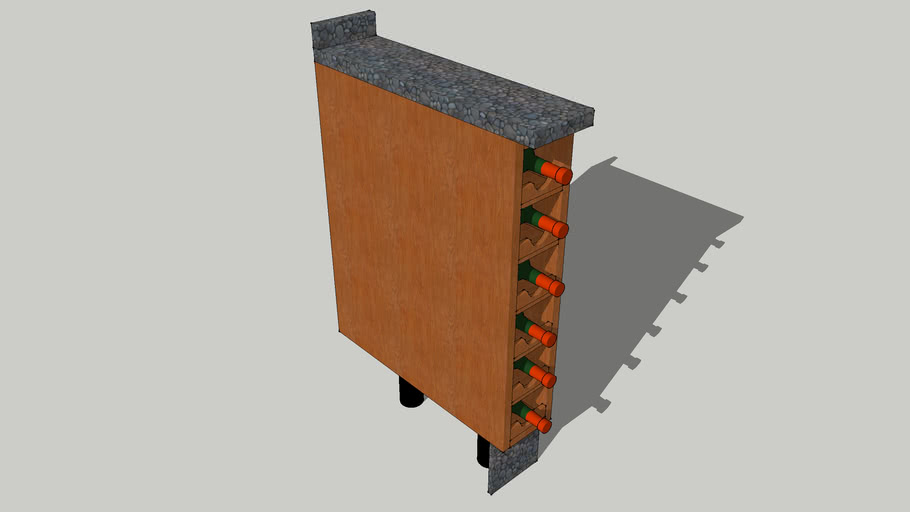 Mueble de cocina en madera, botellero
