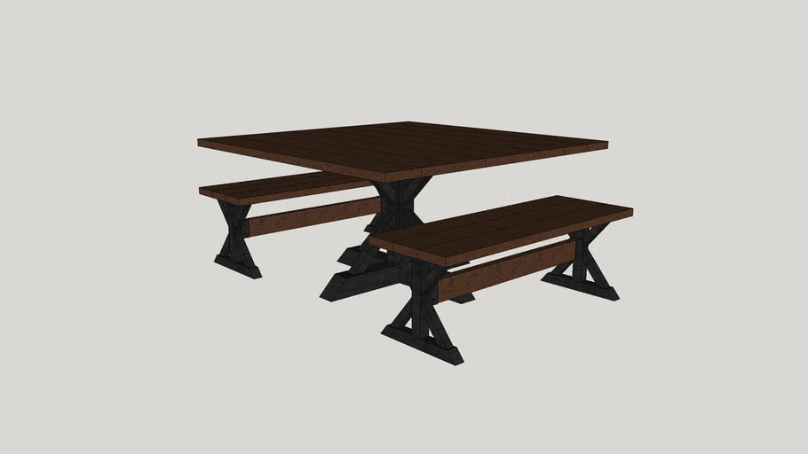 Metal Base Dining Table And Benches 3d Warehouse