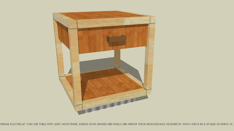 END TABLE LT WD FRAME DK WD DRAWER & MIRROR BASE BY JOHN A WEICK RA