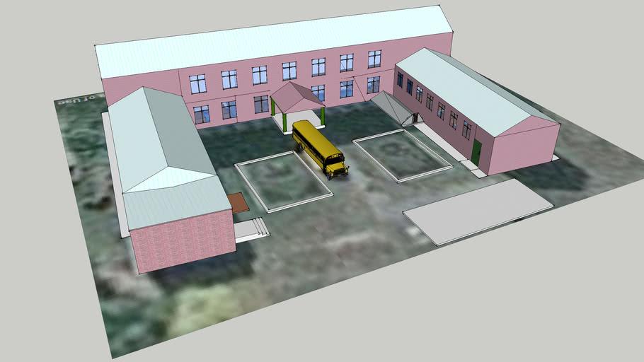 школа с автобусом