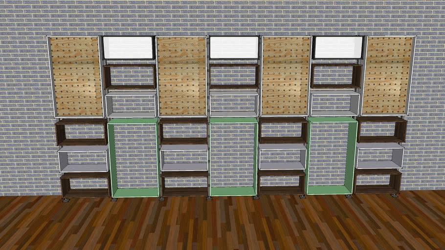 Denim grid wall