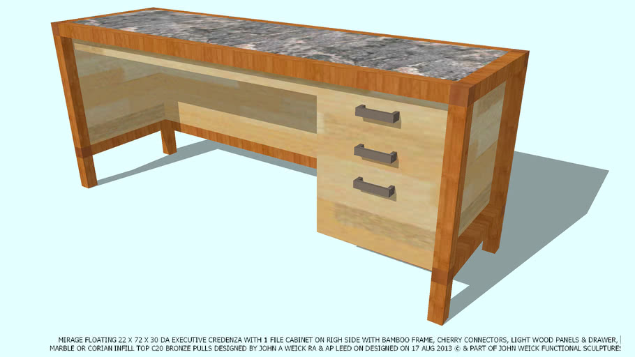 CREDENZA BAMBOOCHERRY LT WD PABEL RH FILE CAB MAR TOP BY JOHN A WEICK RA