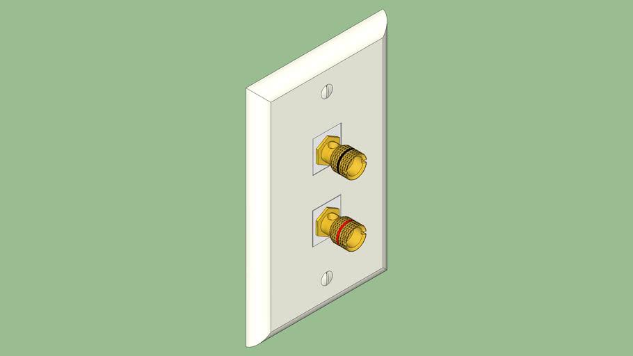 Wallplate stereo banana plug binding post