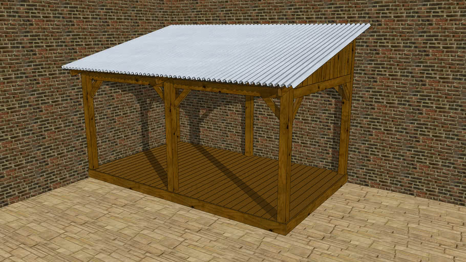 Lean-to roofed terras