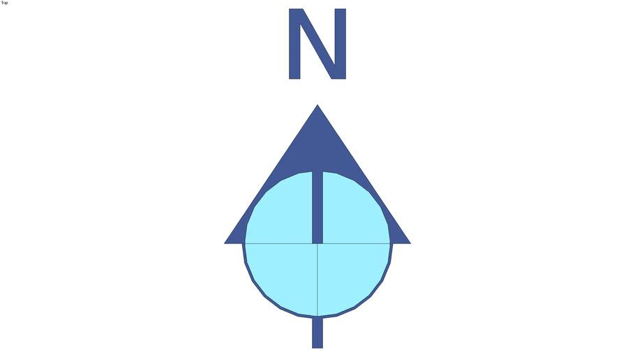 Blue north arrow
