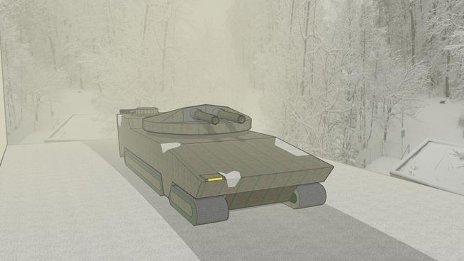 Tank in Snow