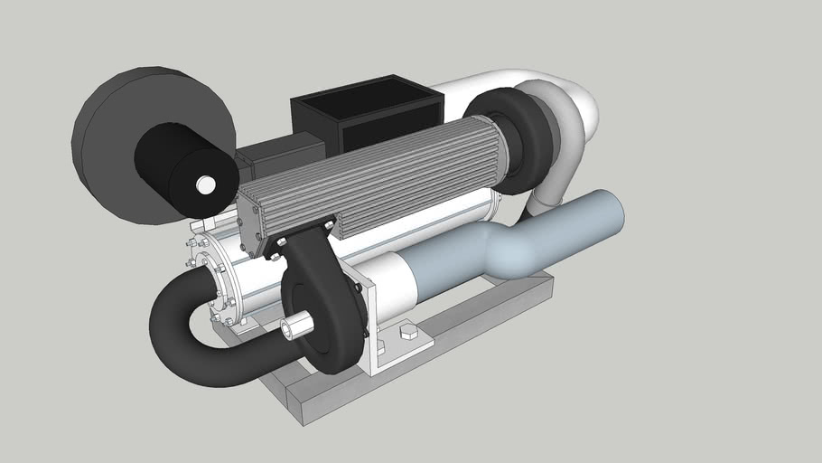 Small turbojet with shaft outlet