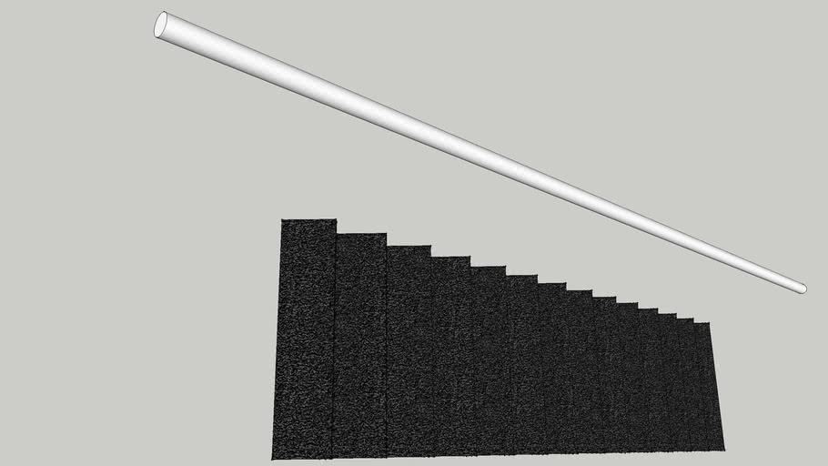 Rechte trap met trapleuning 2600mm hoog