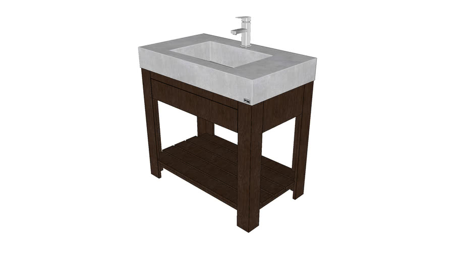 """36"""" Lavare Vanity with Concrete Ramp Sink and Drawer"""
