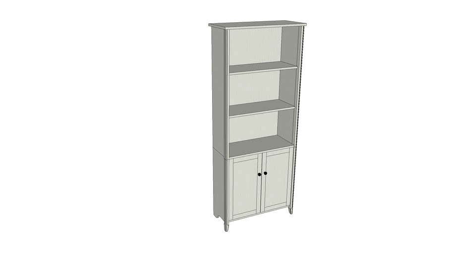 Home Office Library Bookcase in Weathered White | QCLIBBWH