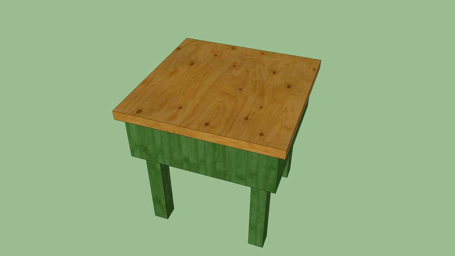 Mesa rústica reciclada de superfície 0,5 m²