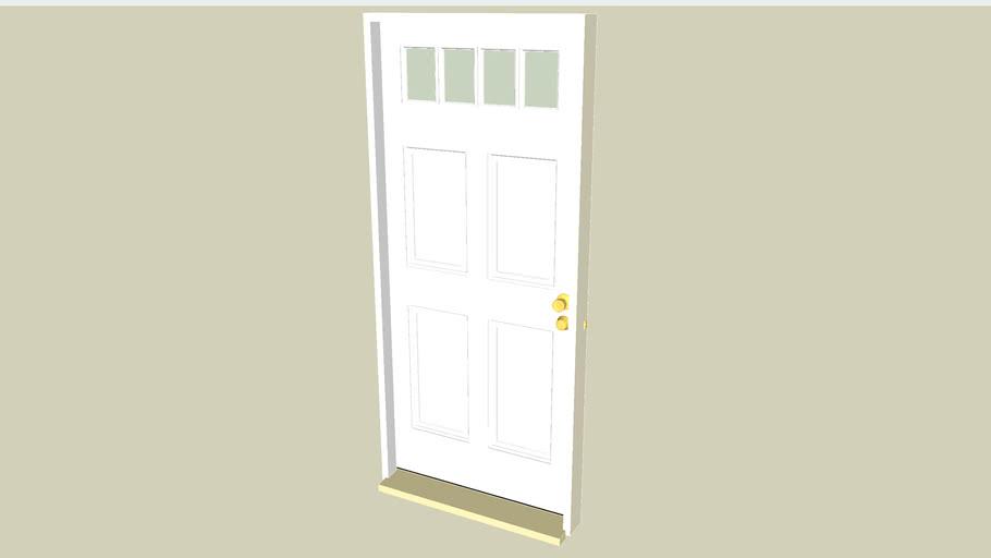 "Entry Door 80""x36"", 4 Panels, 4 Lite W/ Frame & Hardware (Door Knob & Deadbolt)"