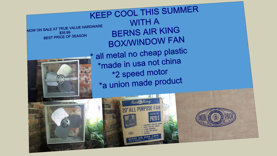 Buy a berns air king window or box fan now