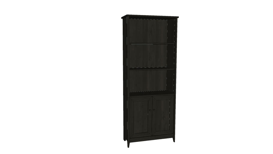 Home Office Library Bookcase, in Brushed Black | QCLIBCB
