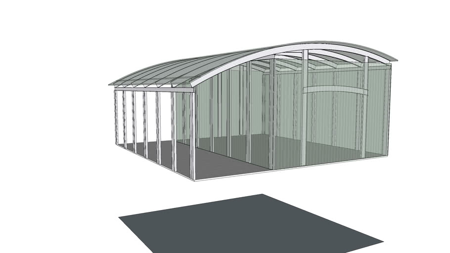 Arched Roof Steel Barn 3d Warehouse