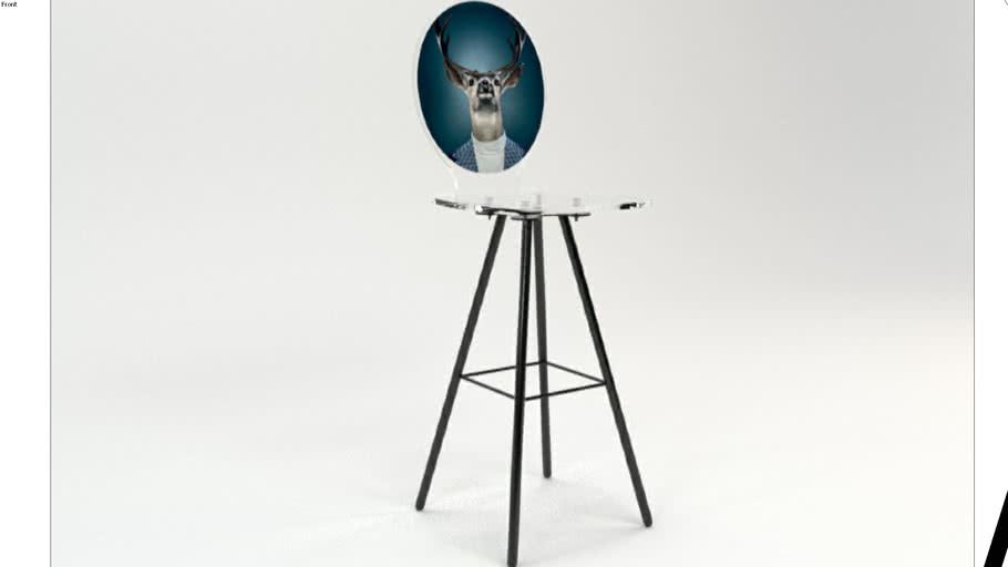 TABOURET GRAPH CERF BLEU PIED METAL PYRAMIDE Acrila Furniture