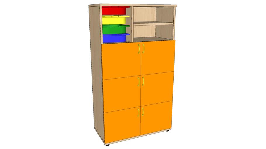 GUARDERÍAS_Armario 6 puertas + 4 cajones + 2 espacios 840x420x1480