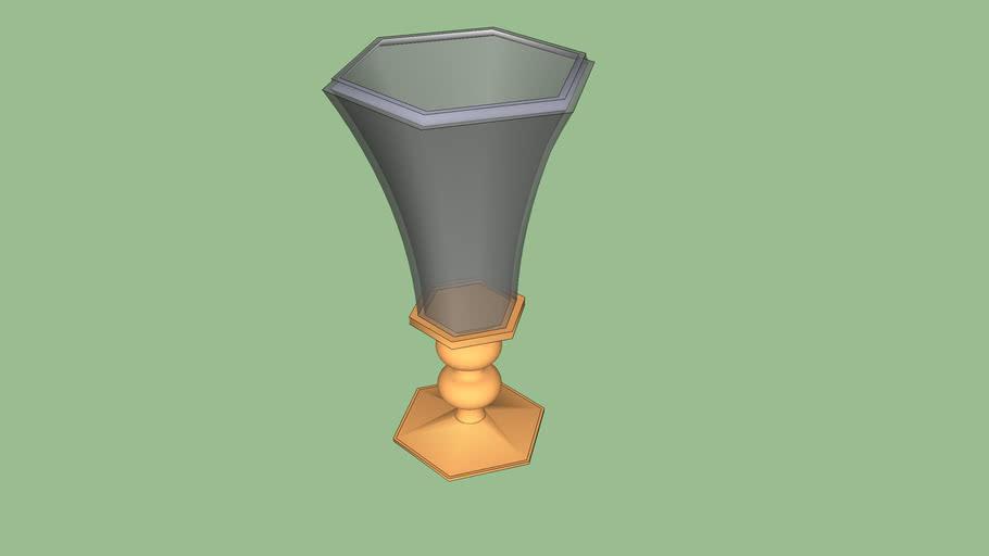 Vazo com vidro exagonal