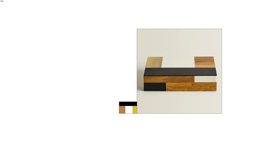 Caja de madera con bloques de distintos colores