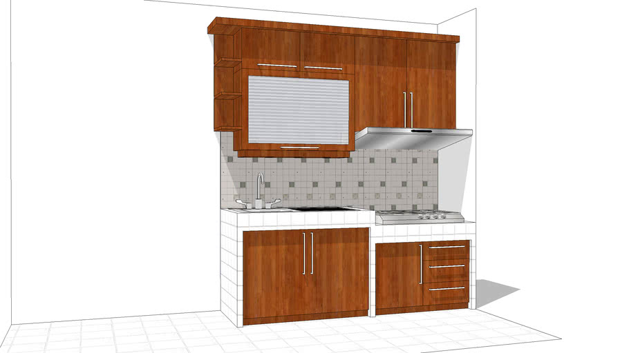 Dapur Kecil Mini Kitchen Small Kitchen Set Lemari Dapur Dapur Simple 3d Warehouse