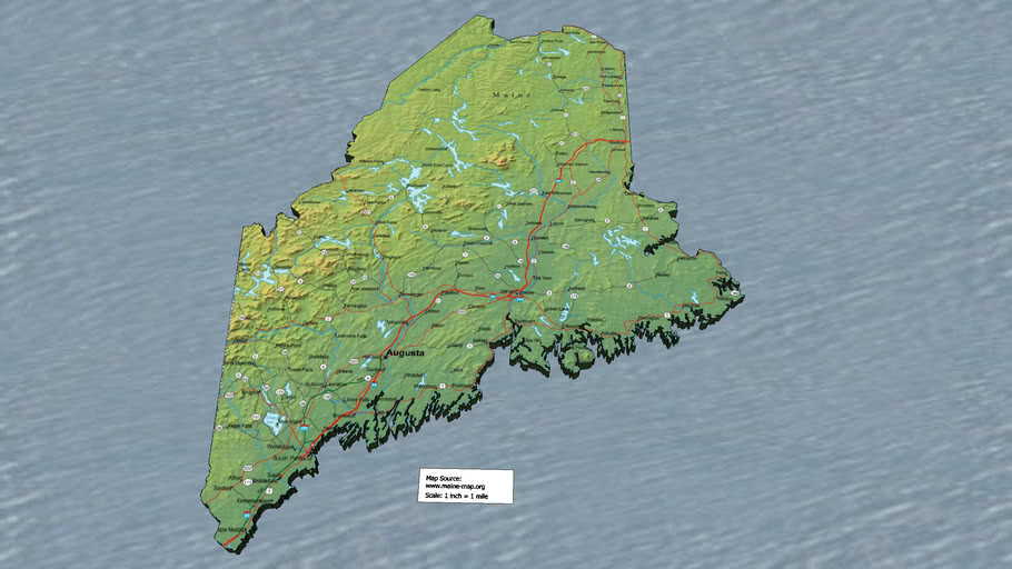Maine Map Tracing With Detailed Map Texture 3d Warehouse