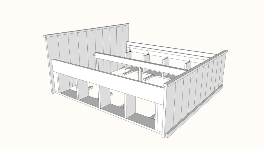 Uitgelezene Steigerhout bed met fruitkistjes bouwpakket zonder de kistjes | 3D SL-39