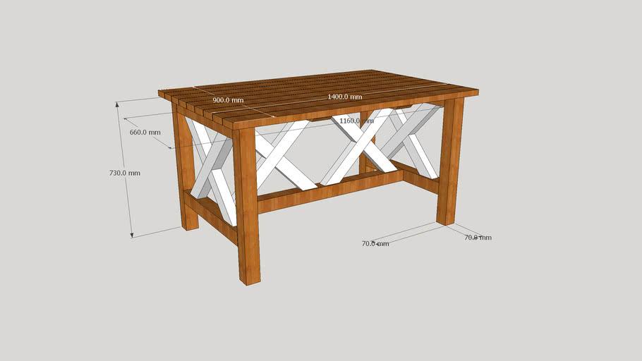 Stół ogrodowy X