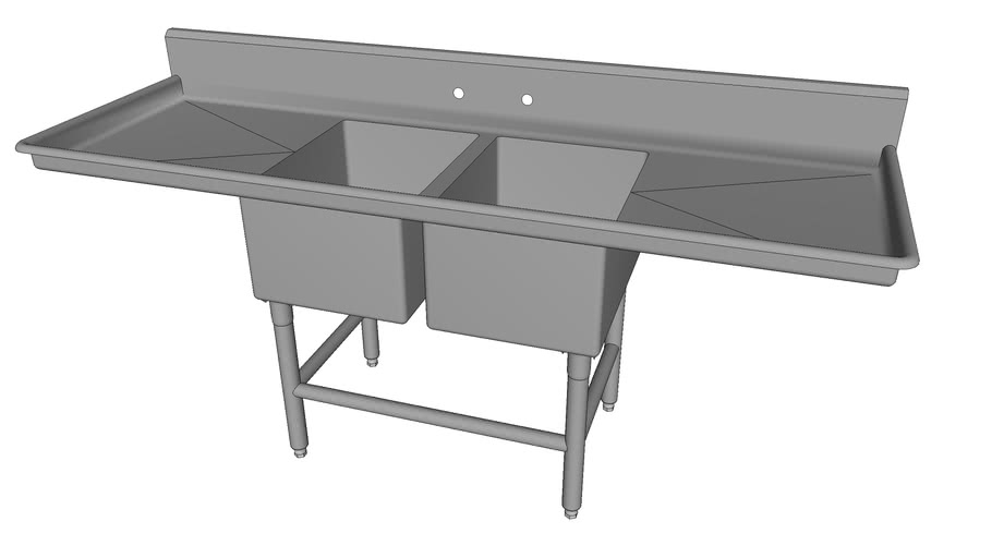 2-Compartment Sink w/2-Drainboards [2NSF1723-DB224-XBf]
