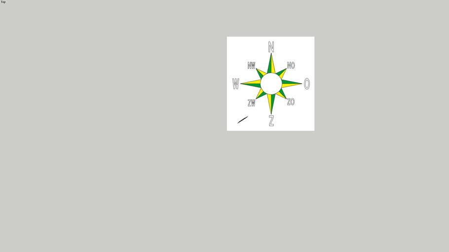 Kompas, 3-kleurig.