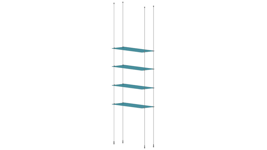 Cable Ceiling to Floor 4 Glass Shelves  - Base Unit