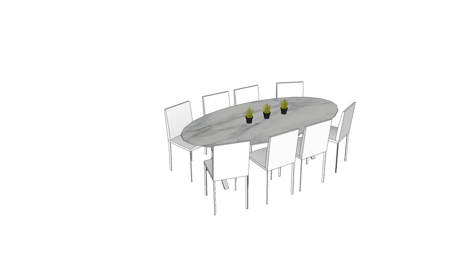 JOL, tafel ovaal elyps met propelor voetstel