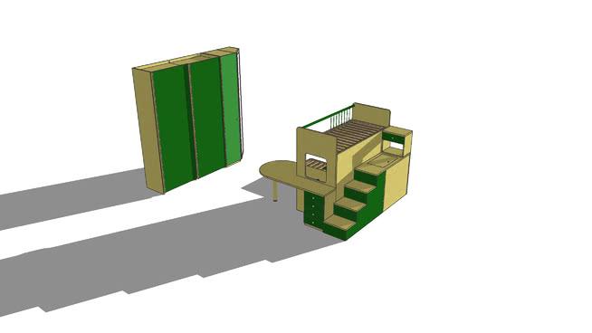 Letto A Castello Bambini Design.Camera Bambini Letto Castello 3d Warehouse