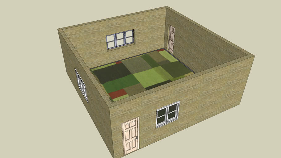 Basic room with windows and doors