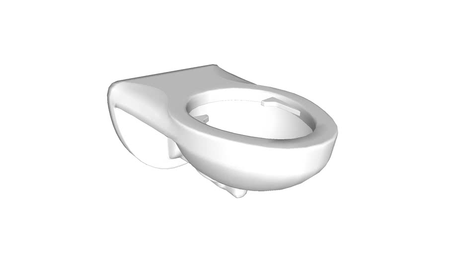 K-4325-L Kingston(TM) Wall-mounted 1.6 or 1.28 gpf flushometer valve toilet bowl with top inlet and bedpan lugs, requires seat