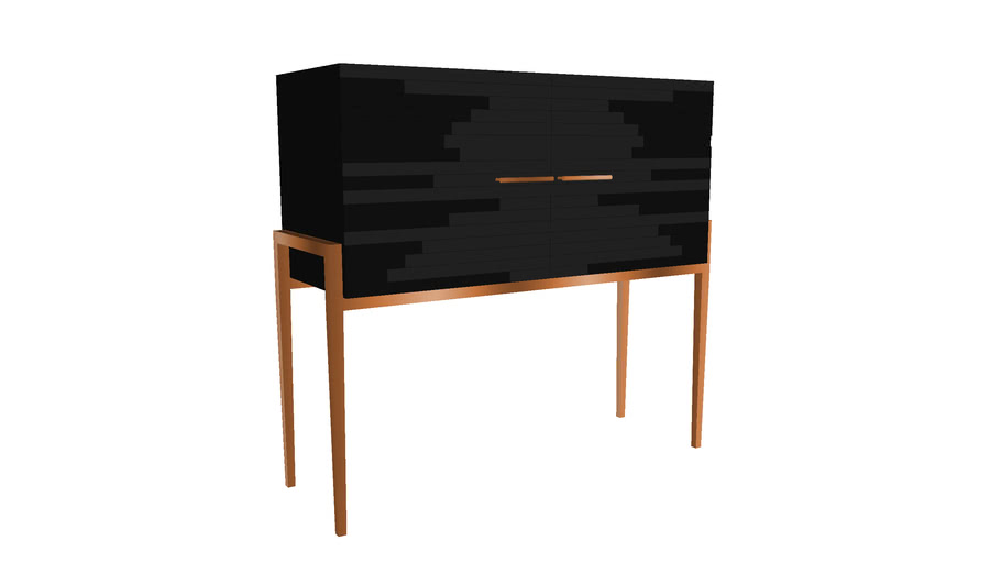 Modern Small Liquor Cabinet for Living Room in Black Lacquer  - Vind