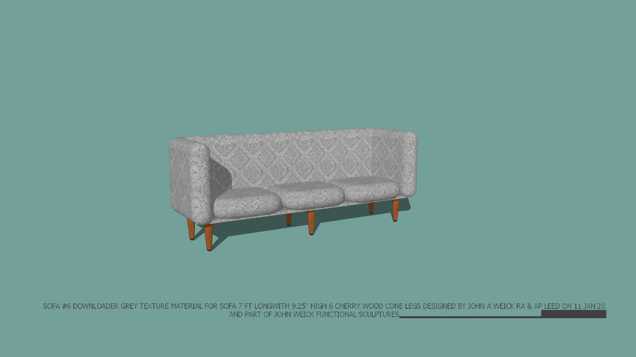 """SOFA #6 GREY TEXTURE 7'L WITH CHERRY WOOD CONE 9.25"""" H LEGS DESIGNED BY JOHN A WEICK RA & AP LEED ON 11 JAN 2015"""