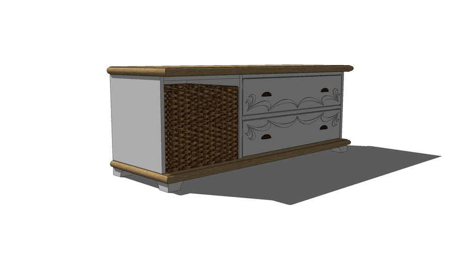 low cabinet with basket