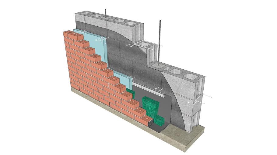 Base of Wall - Flexible Flashing, No Drip Edge, Termination Bar, Mortar Dropping Collection Device