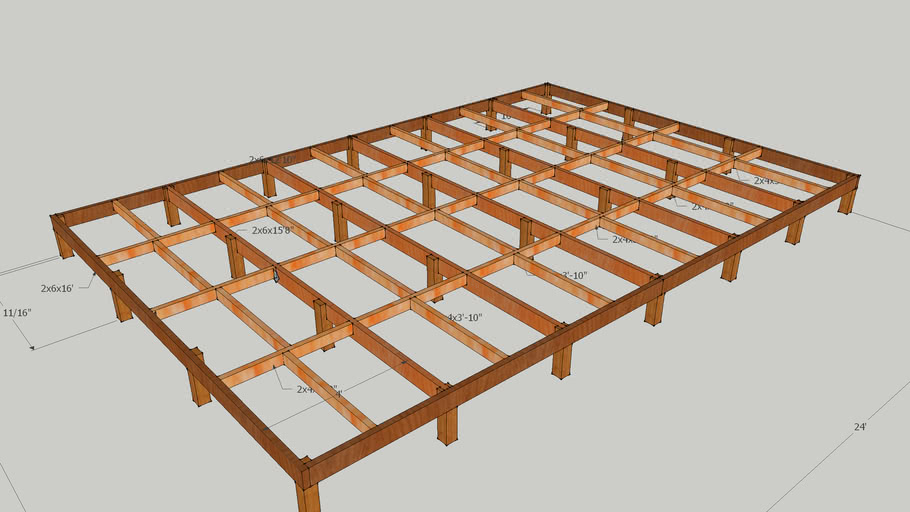 16x24 previous shed floor framing | 3D