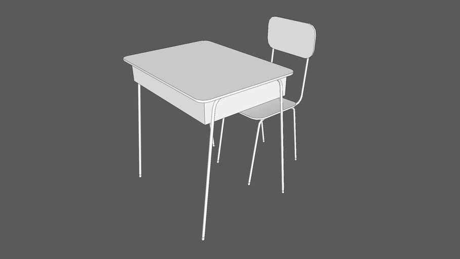 School Desk And School Chair 2 For Students 516Polygons