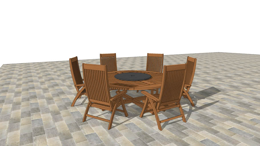 Round Teak Patio Table, Lazy Susan and Six Matching Chairs
