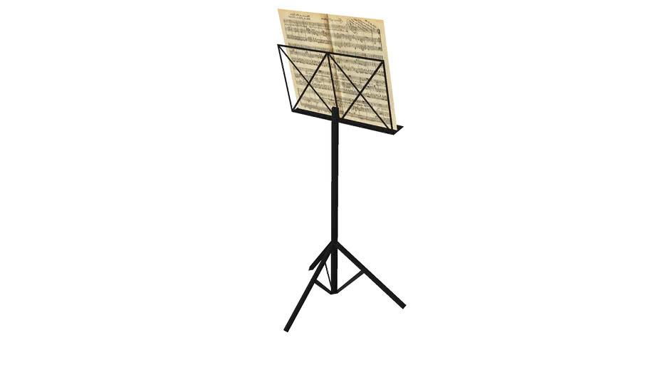 Partitura musical com estante / Musical score with stand